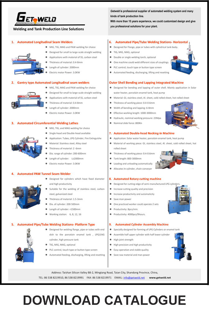 Catalogue of main products
